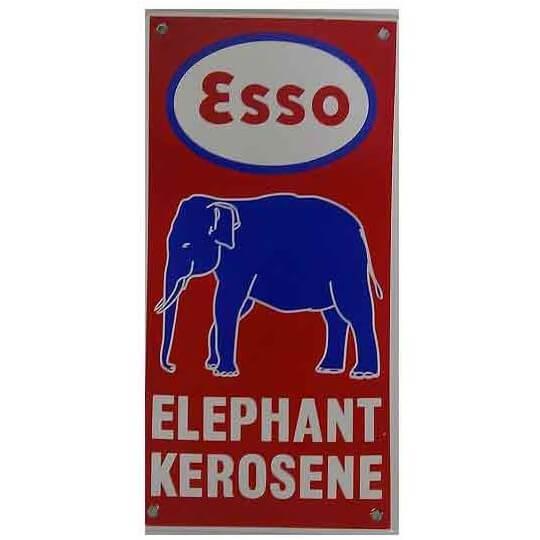 Plaque émaillée Esso Elephant 10 x 20 cm