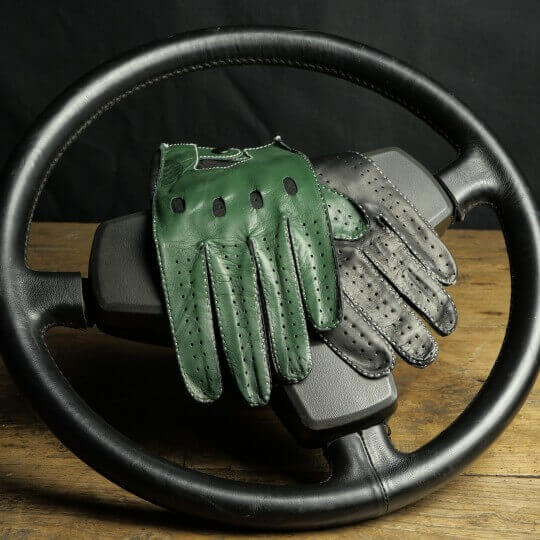 """DRIVING GLOVES """"LE MANS CLASSIC"""" - LEATHER - ENGLISH GREEN"""