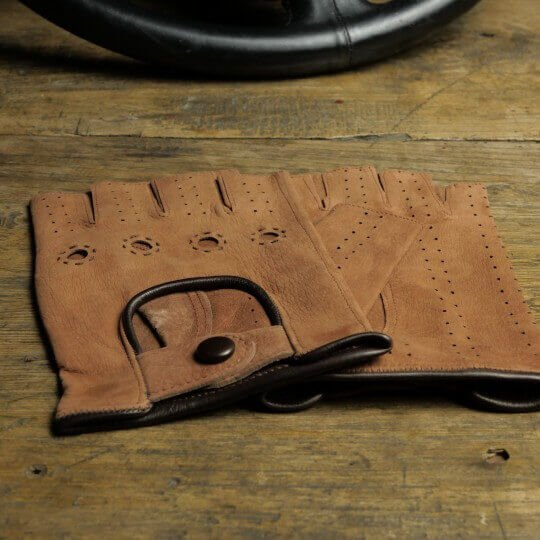 DRIVING MITTENS - LEATHER - BROWN