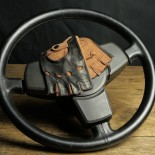 DRIVING MITTENS - LEATHER - TWO-TONE BLACK BROWN
