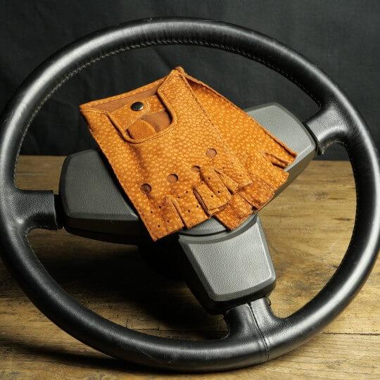 DRIVING MITTENS - CARPINCHO LEATHER - COGNAC