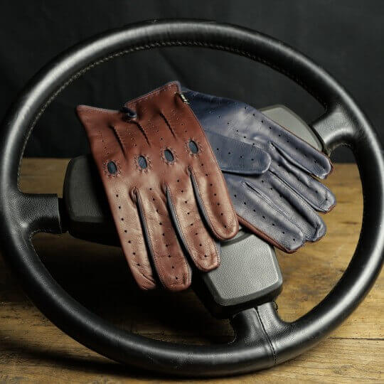 DRIVING GLOVES - LEATHER - TWO-TONE COGNAC NAVY