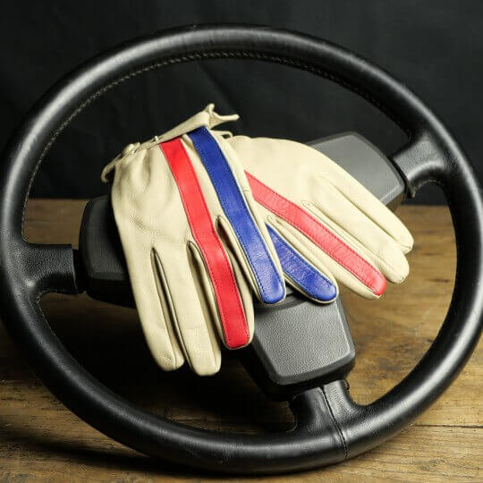 DRIVING GLOVES - LEATHER - STRIPE RACING GPO