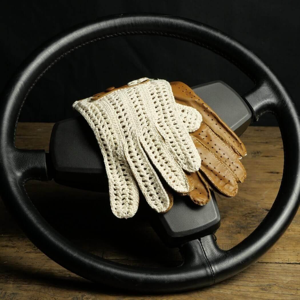 GANTS DE CONDUITE - CUIR ET CROCHET - TABAC