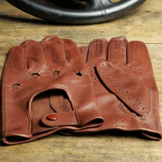 DRIVING GLOVES - LEATHER - COGNAC