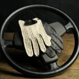 DRIVING GLOVES - LEATHER AND HOOK - BLACK