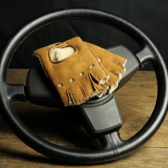 DRIVING MITTENS - LEATHER RETURNS - TOBACCO