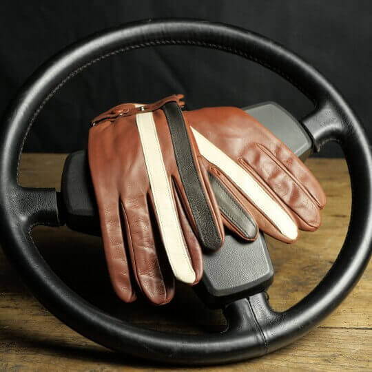 DRIVING GLOVES - LEATHER - COGNAC STRIPE RACING GPO
