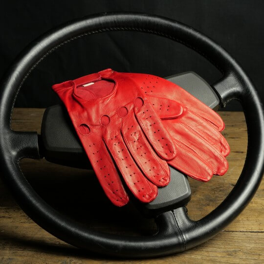 DRIVING GLOVES - WOMEN - LEATHER - RED