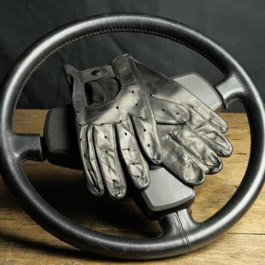 24H DRIVING GLOVES LE MANS - LEATHER 24H - BLACK