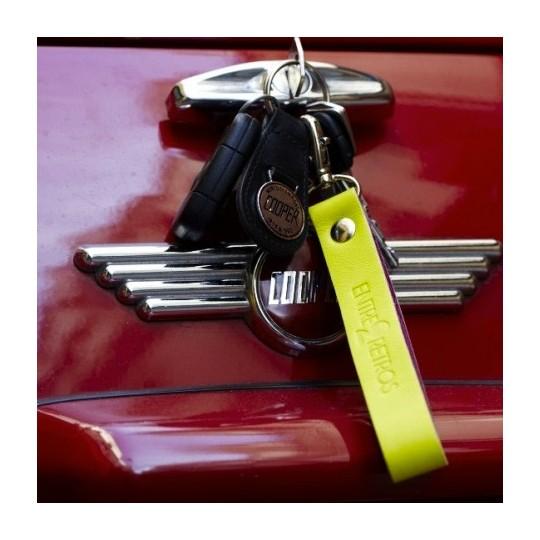 Porte clé Cuir couleur Jaune