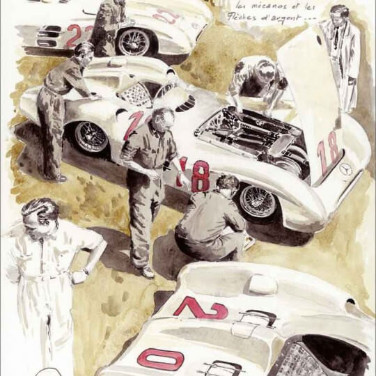 "\""Silver arrows and mechanics\\"", Mercedes W196  Reims 1954"