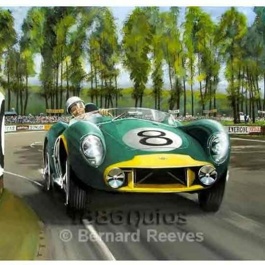 Stirling Moss in the Aston Martin at Le Mans