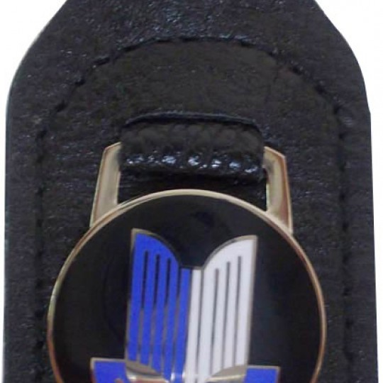 Porte clé Triumph en cuir Noir Logo bleu