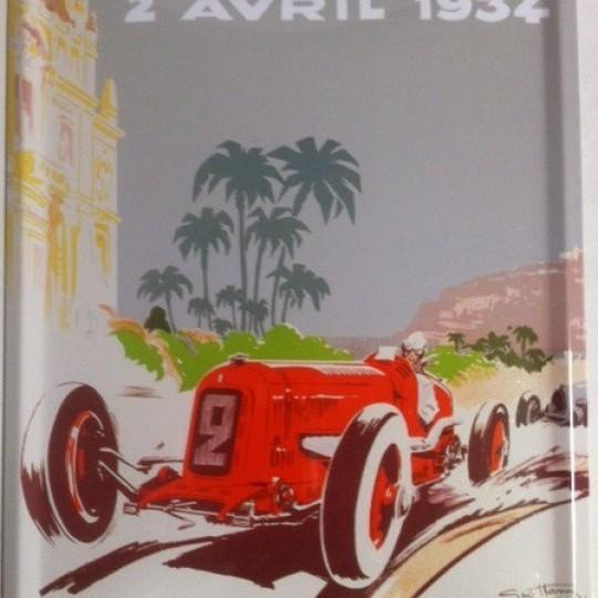 Plaque métal Grand Prix de Monaco 1934 par Géo Ham 30 x 40 cm