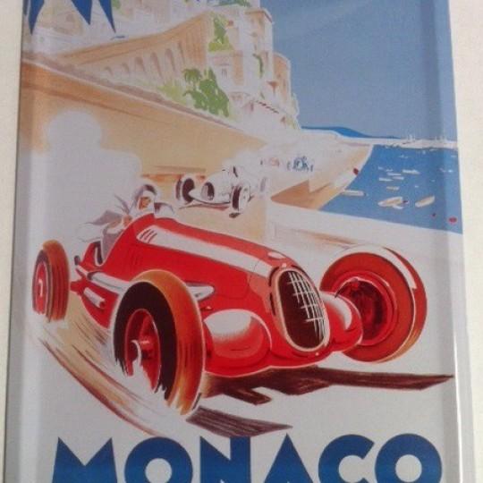 Plaque métal Grand Prix de Monaco 1937 par Géo Ham 30 x 40 cm