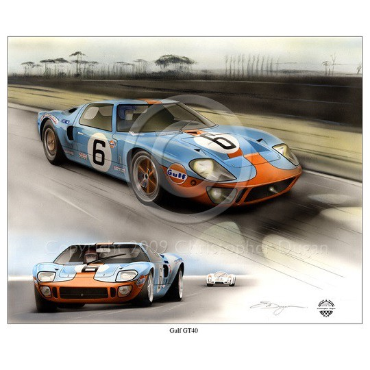 The mighty Ford GT40 in Gulf colours at Le Mans in the closest finish ever followed home by the Porsche 908
