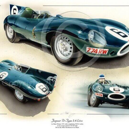 Vainqueurs du Mans en 1955 - Mike Hawthorn et Ivan Bueb - Jaguar Type D