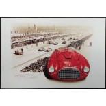 Postcard Ferrari 166 MM - LE MANS 1949