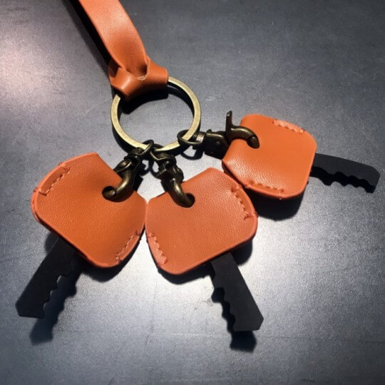 Porte clé triple cuir camel