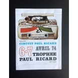 Autocollant circuit Paul Ricard avril 1974
