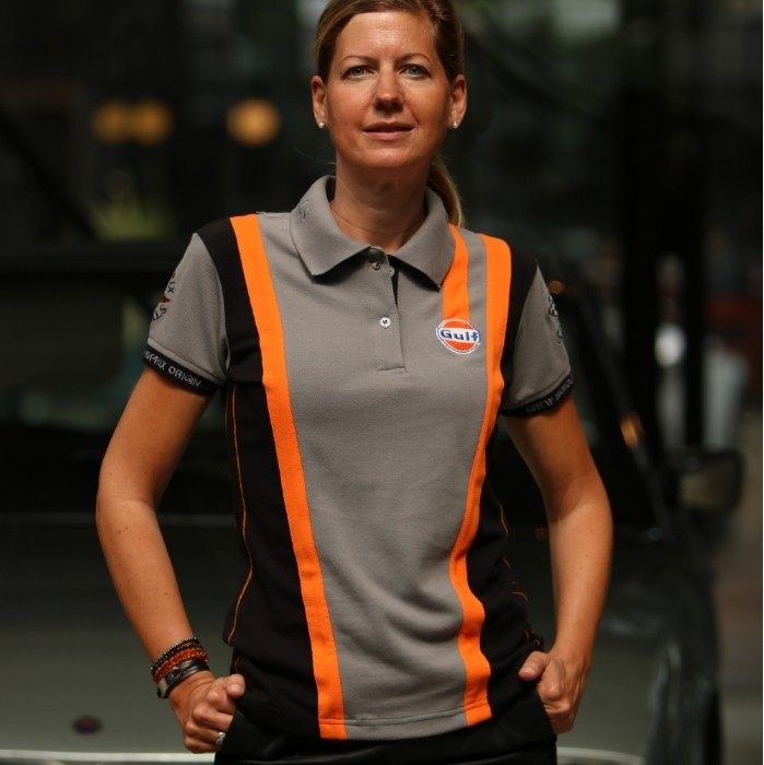 Polo Gulf Femme Gris & Orange Racing mixed