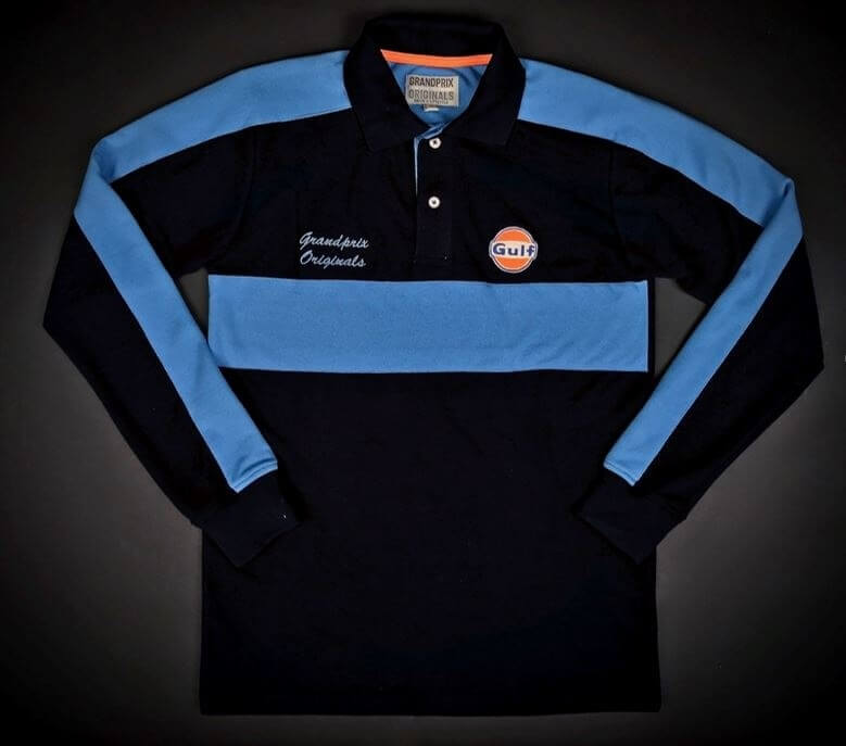 Polo Gulf style rugby bleu marine manches longues