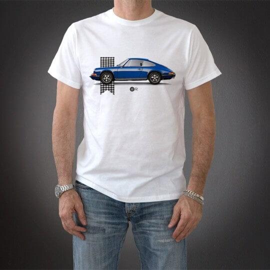 Original Race Porsche blue checkered T-shirt
