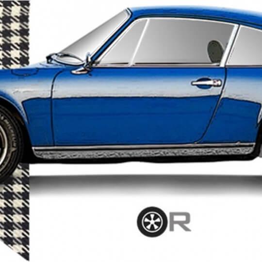 T-shirt Original Race Porsche bleu à damier