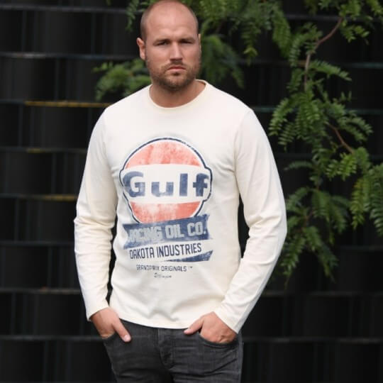 T-shirt Gulf Oil Racing crème manches longues