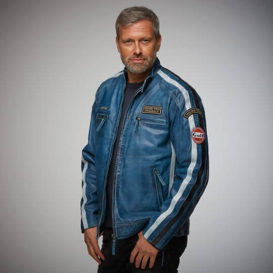 BLOUSON GULF CUIR CALSSIC RACE JACKET NAVY BLUE