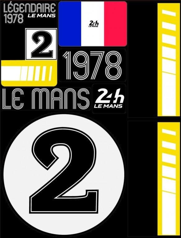 POCHETTE DE 5 PLANCHES D'AUTOCOLLANTS 1978 24H REPOSITIONNABLES