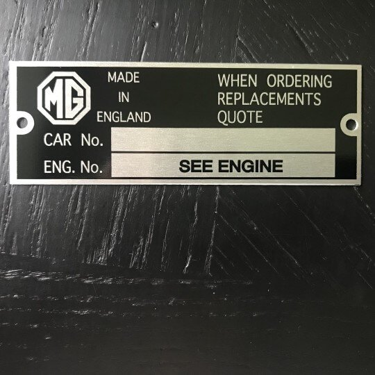Chassis identification plate MG