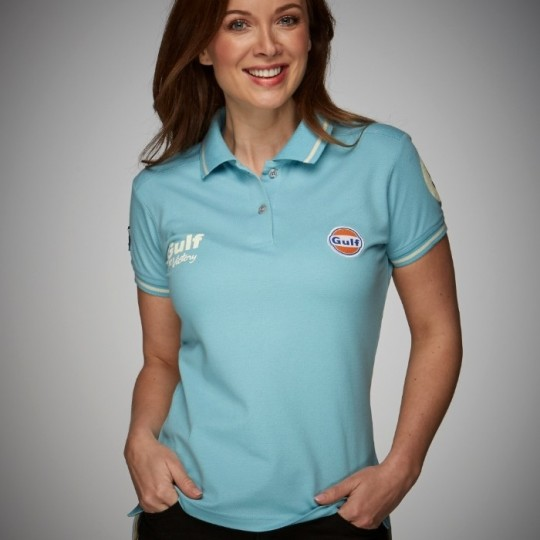 Vintage Gulf women's blue polo shirt