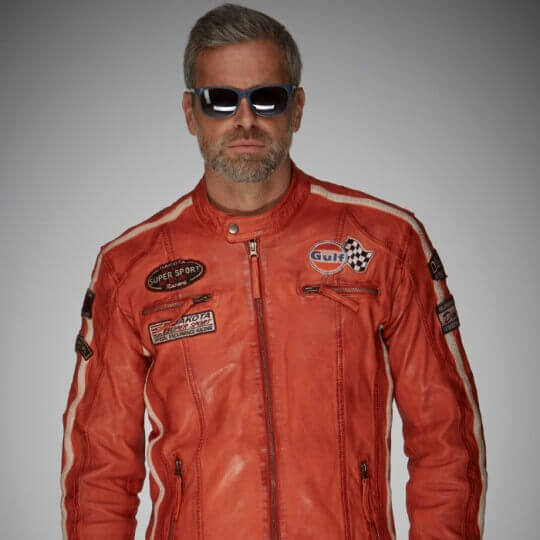 BLOUSON GULF CUIR RACING JACKET ORANGE