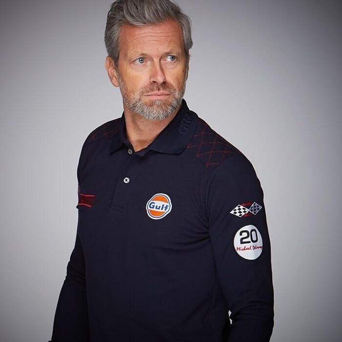 GULF Delaney long sleeve polo shirt navy blue