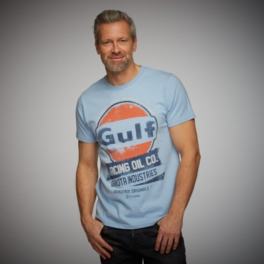 T-shirt GULF Oil Racing Bleu ciel
